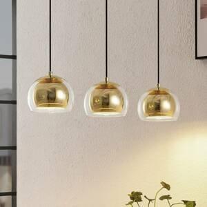 Lindby Lindby Daymien závesná lampa, 3-pl., mosadz