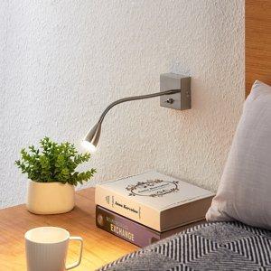 Lindby Lindby Jolka LED lampa na čítanie satinovaný nikel