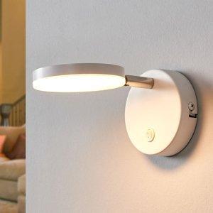 Lindby Biele nástenné LED svietidlo Milow s vypínačom