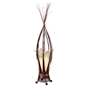 Woru Stolná lampa s látkovým tienidlom krémová