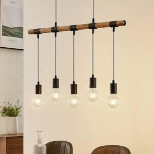 Lindby Lindby Sibillia závesná lampa s drevom, 5-pl.