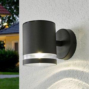 Lindby Sivé solárne vonkajšie nástenné LED svetlo Melinda