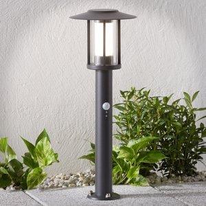 Lindby Soklové LED svietidlo Gregory tmavosivé snímač