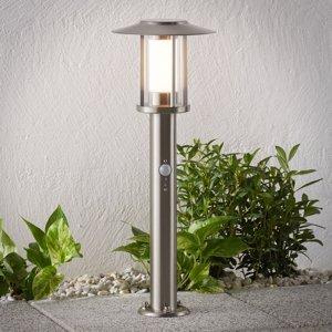 Lindby Soklové LED svietidlo Gregory oceľ snímač