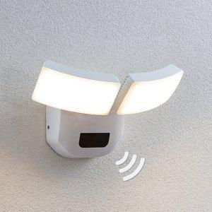 Lindby Vonkajšie nástenné LED svetlo Nikias snímač 2-pl.