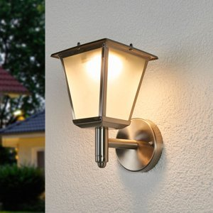 Lindby Solárne vonkajšie nástenné LED svetlo Anica oceľ