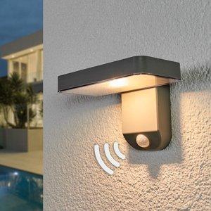 Lindby Solárna LED lampa Maik, snímač, montáž na stenu