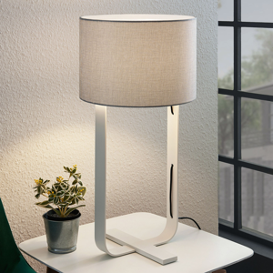 Lampenwelt.com Textilná stolná lampa Tarika v sivej a bielej