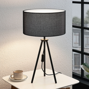 Lampenwelt.com Trojnohá stolná lampa Bentja, látka, čierna