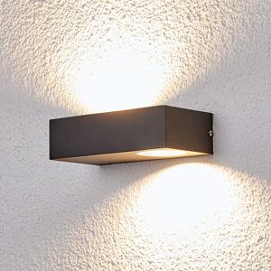 Lampenwelt.com Vonkajšie nástenné LED svietidlo Loredana hranaté