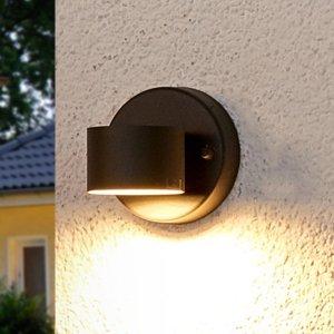 Lindby Grafitovo-sivé vonkajšie nástenné LED svetlo Lexi