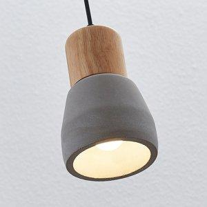 Lindby Betónová závesná lampa Margot s drevom 1-plameňové