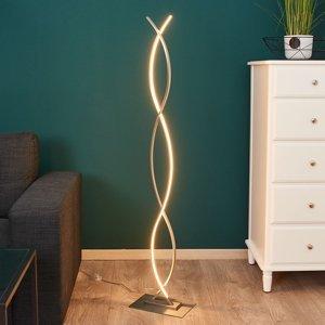 Lindby Zakrivená stojaca LED lampa Bobi