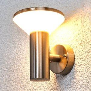 Lindby Oceľové vonkajšie nástenné svetlo Tiga diódy LED