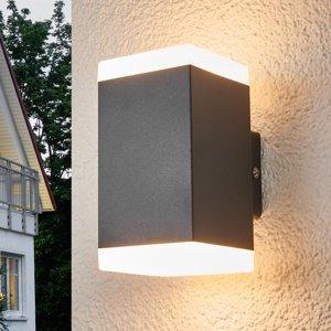 Lampenwelt.com Hranaté vonkajšie nástenné LED svietidlo Hedda