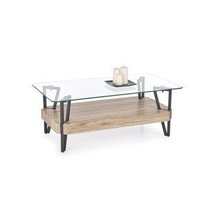 HALMAR Abrilla sklenený konferenčný stolík dub san remo / čierna / priehľadná