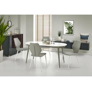 HALMAR Crispin rozkladací jedálenský stôl biely lesk / sivá
