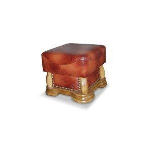 PYKA Cheverny kožená taburetka drevo D3 / hnedá (Antyk S41)