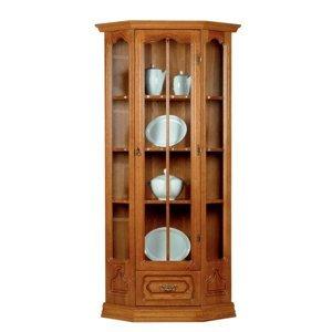 PYKA Kinga rustikálna rohová vitrína drevo D3