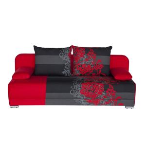 WIP Zico rozkladacia pohovka s úložným priestorom kvety červené / suedine červený