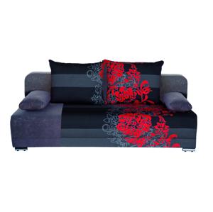 WIP Zico rozkladacia pohovka s úložným priestorom kvety červené / suedine šedý