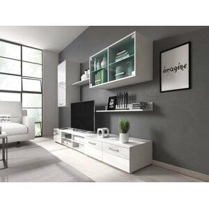 RENAR Klara obývacia stena s osvetlením biela / biely lesk