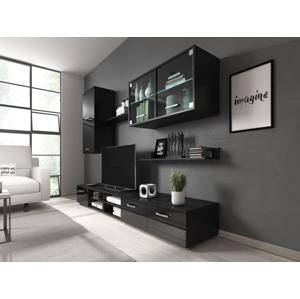 RENAR Klara obývacia stena s osvetlením čierna / čierny lesk