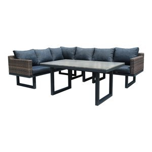 NABBI Ferrara záhradný nábytok z umelého ratanu hnedá / čierna / tmavosivá