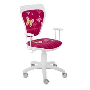 NOWY STYL Ministyle detská stolička na kolieskach s podrúčkami biela / vzor butterfly