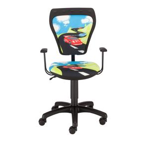 NOWY STYL Ministyle detská stolička na kolieskach s podrúčkami čierna / vzor Turbo