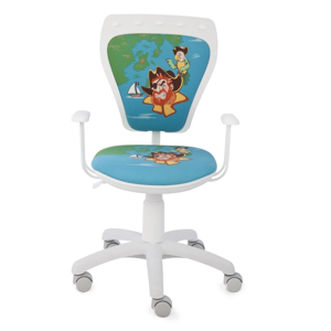 NOWY STYL Ministyle detská stolička na kolieskach s podrúčkami biela / vzor piráti