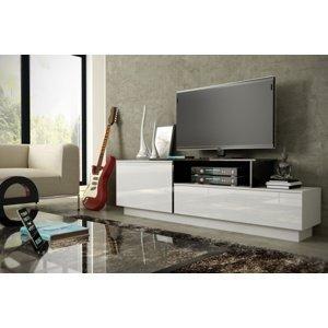 CAMA MEBLE Sigma 3A tv stolík biela / biely lesk / čierny lesk