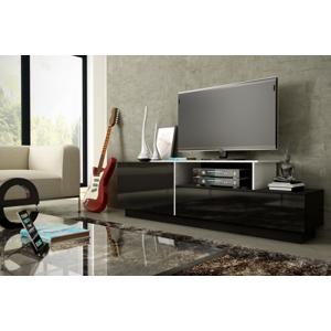 CAMA MEBLE Sigma 3C tv stolík čierna / čierny lesk / biely lesk