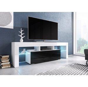 CAMA MEBLE Toro 138 tv stolík biela / biely lesk / čierny lesk
