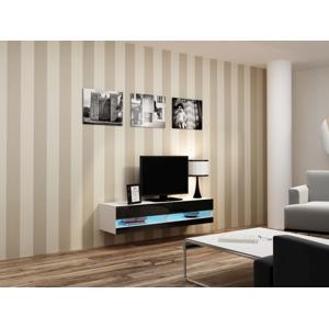 CAMA MEBLE Vigo New 140 tv stolík na stenu biela / čierny lesk
