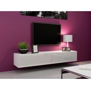 CAMA MEBLE Vigo 180 tv stolík na stenu biela / biely lesk