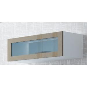 CAMA MEBLE Vigo 90 vitrína na stenu so sklom biela / latte lesk