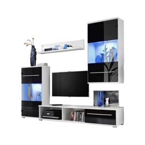 FURNIVAL Lippi obývacia stena s osvetlením biela / čierny lesk