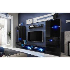 FURNIVAL Modern obývacia stena s osvetlením čierna / čierny lesk