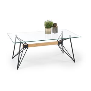 HALMAR Allegra sklenený konferenčný stolík priehľadná / čierna / prírodná