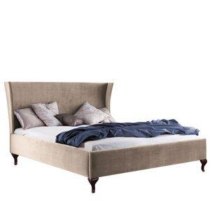 TARANKO Classic CL-1 140 čalúnená manželská posteľ svetlohnedá (Velvet-B1 148) / orech Milano