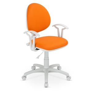 NOWY STYL Smart White detská stolička na kolieskach s podrúčkami oranžová (V83)