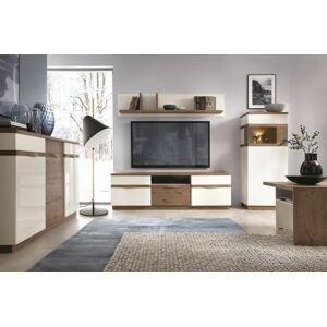 TARANKO Como obývacia izba biely vysoký lesk / dub Como