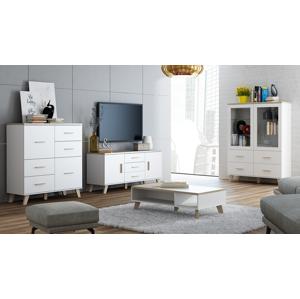 CAMA MEBLE Lotta obývacia izba biela / dub sonoma