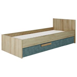 BOG-FRAN Aygo AG12 jednolôžková posteľ (váľanda) s uložným priestorom pieskový buk / peltro