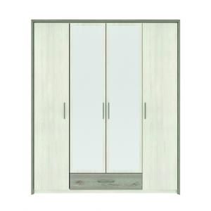 NABBI Salernes SR5 štvordverová šatníková skriňa so zrkadlom pino aurelio / madagascar / nelson