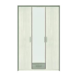 NABBI Salernes SR4 trojdverová šatníková skriňa so zrkadlom pino aurelio / madagascar / nelson