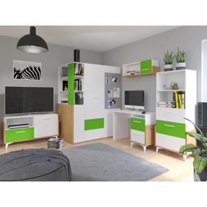 MEBLOCROSS Hey študentská izba dub artisan / biela / zelená