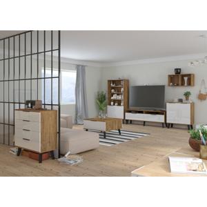 MEBLOCROSS Sven obývacia izba dub burgundský / biely lesk