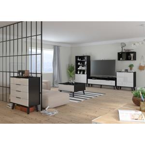 MEBLOCROSS Sven obývacia izba čierna / biely lesk